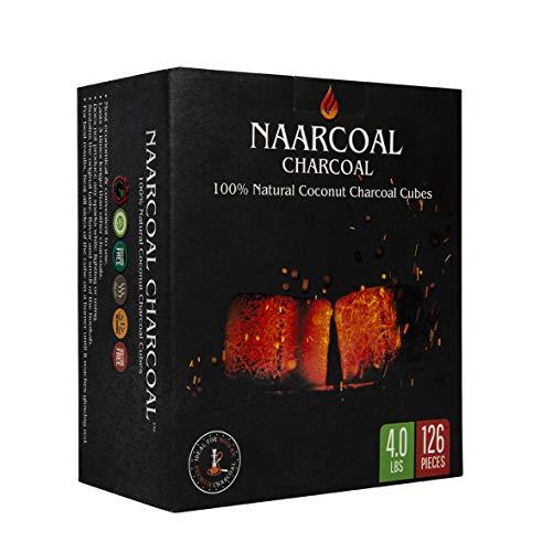 Naar Coal 100% Natural Coconut Hookah Charcoal Cubes, Shisha Coals 1.75 KG, (3.85 lbs) 126 Count