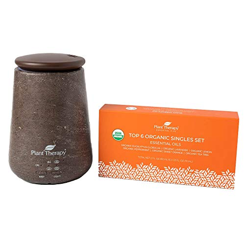 Plant Therapy TerraFuse Brown Diffuser and Top 6 Organic Essential Oil Set 100% Pure, Undiluted, Therapeutic Grade Essential Oils
