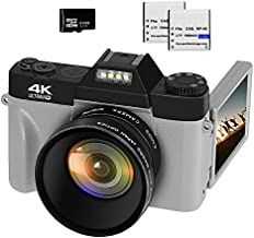 VETEK 4K Digital Camera, 48MP 16X Digital Zoom Flip Screen Autofocus Camcorder for Photography on YouTube, with Wide-Angle Lens and Macro Lens, 32G Micro Card, 2 Batteries (Gray)