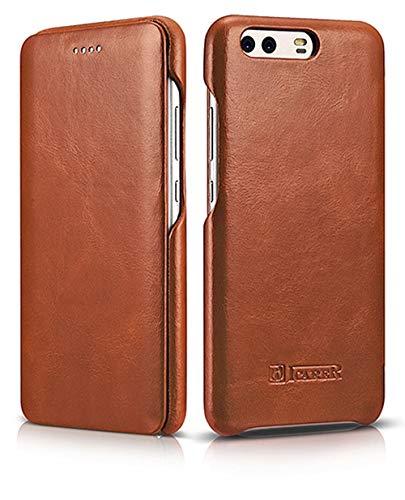 ICARER Tasche passend für Huawei P10 Plus, Hülle mit echtem Leder, Schutz-Hülle seitlich klappbar, Ultra-Slim Cover, dünne Handy-Hülle, Etui im Vintage Erscheinungsbild, Braun