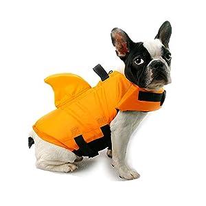TOFOAN Dog Life Jacket Shark, Dog Life Vest for Small Medium, Professional Pet Dog Lifesaver Preserver Cold Weather Coat Swim Suit Perfect for Safety Swimming, Boating, Pool, Beach (Orange-XL)