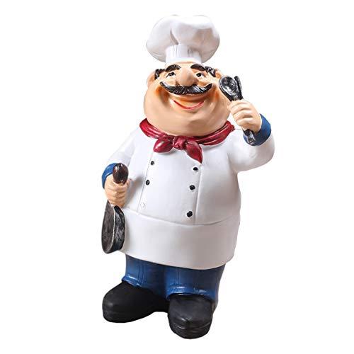 F Fityle Chefkoch Küchenchef Koch Figur Dekofigur für Küche Restaurant Café Bäckerei - Löffel