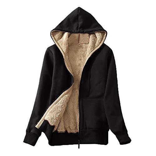 Xinantime Womens Casual Winter Warm Sherpa Lined Zip Up Hooded Sweatshirt Jacket Coat Black
