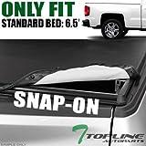 Topline Autopart Hidden Snap On Vinyl Truck Bed Tonneau Cover For 14-18 Chevy...