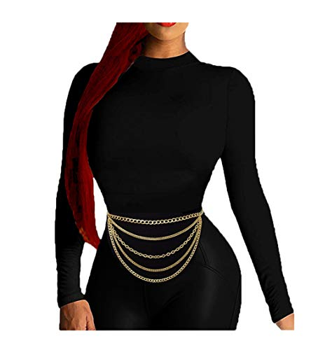 Women's Premium Hang Low Multi Link Chain 4 or 5 Layer Waist Chain Belt in Gold, Silver Tone (Type 1 / Gold)