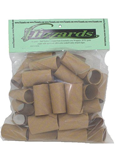 Half Dollar Crimped End (Gunshell) Coin Wrappers, 40 Pack