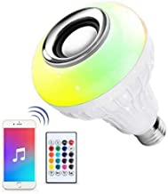 KLED LED Light Bulb with Integrated Bluetooth Speaker, Wireless 12W LED RGB Color Changing Smart Music Audio Bulb with 24 ...
