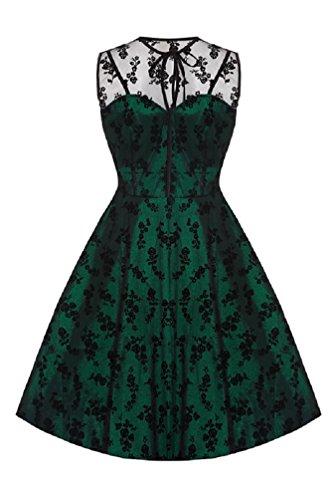 Neue Smaragd Grün Voodoo Vixen 50er Jahre Rockabilly Vintage Stil Spitzen Kleid (4XL) - 2