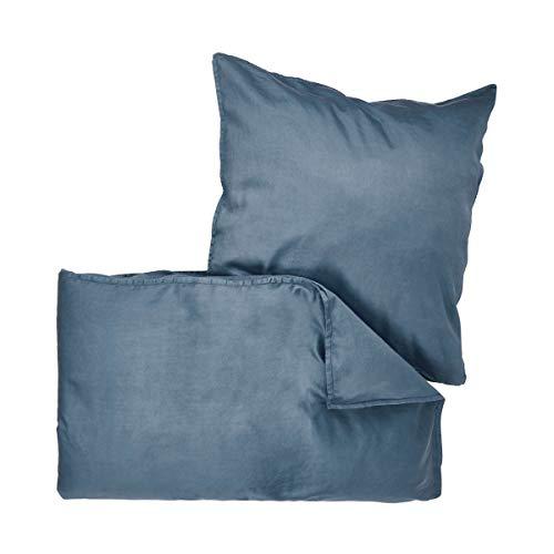 Butlers BEDTIME Satin Bettwäsche 135x200 cm Set 2-teilig in Blau - Bettzeug aus Baumwolle - Bezug für Kopfkissen und Decke