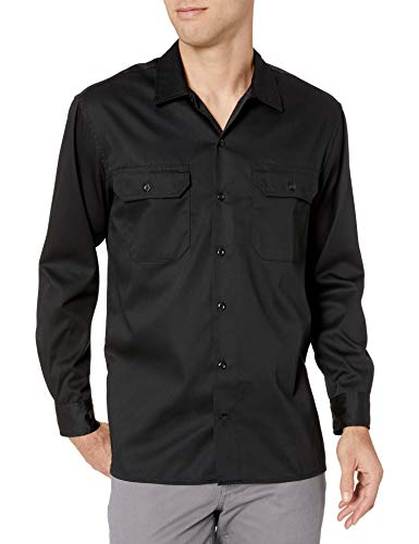 Amazon Essentials Long-Sleeve Stain and Wrinkle-Resistant Work button-down-shirts, Black, Small