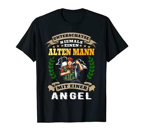Hombre Nunca subestima a un hombre viejo con una pesca. Camiseta
