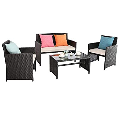 Furnimy 4 Pieces Outdoor Furniture Set Wicker Rattan Chair and Table Set Patio Conversation Set Outdoor Chairs Patio Loveseat with Cushions and Table for Backyard, Porch, Patio, Lawn (Beige)