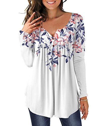 DEMO Tunika damska bluzka z długim rękawem wycięcie w kształcie litery V listwa guzikowa plisowana bluzka t-shirt górna