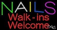 17x 32x 1インチNails walk-ins Welcomeアニメーション点滅LEDウィンドウサイン