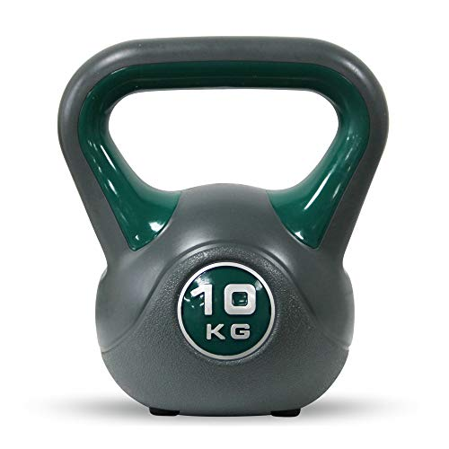 POWRX Kettlebell de hormigón 10 kg - Pesa Rusa con Revestimiento de Vinilo - Base con Goma Antideslizante + PDF Workout (Verde) ⭐