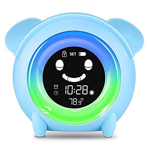 Kids Digital Alarm Clock, Toddler Alarm Clock, Children's Sleep Trainer with 5 Color Night Light, Temperature Detect, Cute Bedside Clock for Girls Boys Birthday Children's Day Gift