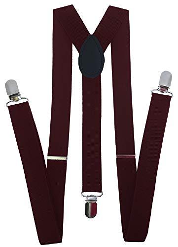 Navisima Men Adjustable Elastic Y Back Style Suspenders With 3 Strong Metal Clips, Burgundy