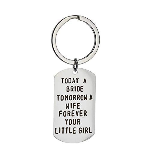 AmDxD Keychain Cute, Porte-Clés en Acier Inoxydable TOOAY A BRIOE Tomorrow A/Little Girl Plaque Militaire Gravure, Argent, 2.2 X 3.9CM