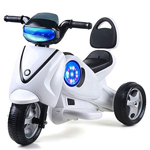 Moto Elétrico para Crianças, Carro Triciclo Criança Com Luzes E Música Recarregável 2 Anos Brinquedos Infantis Infantil Carros De Bateria,Blanco