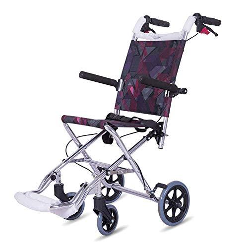 SuRose Leichtgewichtige Klapprollstuhlfahrermedizin, Flugzeug Rollstuhl-Rollstuhl aus Leichtmetall-tragbarer Kinder-Rollstuhl
