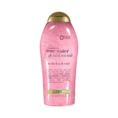 OGX Pink sea salt & rosewater gentle soothing body scrub, 19.5 Ounce, 1.0 Count