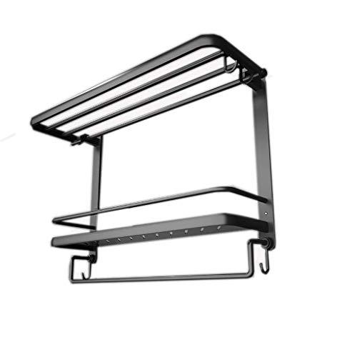SKYEI Toalla Rack Tablero de baño Montaje de Pared Montaje de Pared Espacio de baño Toalla de Aluminio Rack Negro Baño Hardware Colgante Pendiente Percha