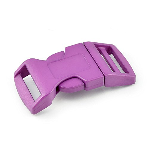 Chiusura a clip con Set 2 passaggi (15 mm di larghezza) in plastica, per bracciali in paracord, collari per cani, zaini, valigie ecc., marca Ganzoo, Violett, 50 Stück