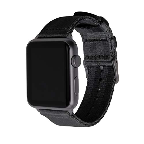 Archer Watch Straps - Seat Belt Nylon Watch Bands for Apple Watch (Black, Space Gray, 42/44mm)