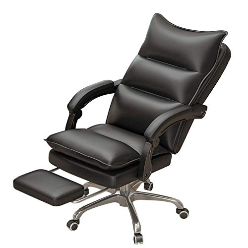 QYBAMZLD Office Chair Home Office Desk Chairs Ergonomic High-Back Executive Desk Chairs with Arms Comfy PU Leather Swivel Computer Chairs, with Footrest & Rocking Functio