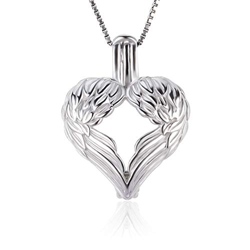 NY Jewelry Angel Wings Pendants for Pearl Sterling Silver, Design Pearl Cages for Pearl DIY Jewelry Making