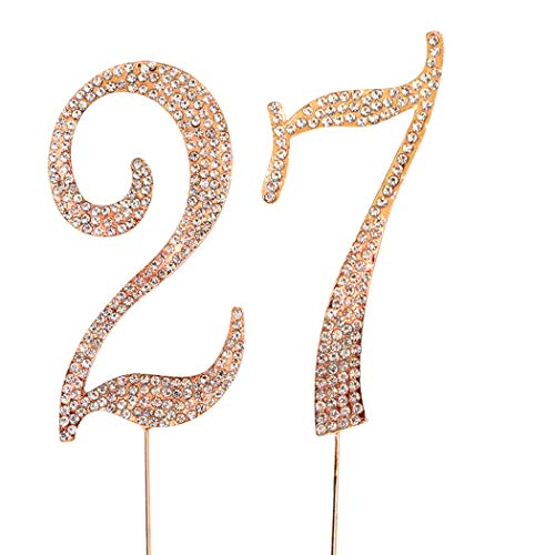 MAGJUCHE Gold 27' Crystal Cake Topper, Number 27 Rhinestones 27th Birthday Cake Topper, Men or Women Birthday or 27th Anniversary Party Decoration Supply
