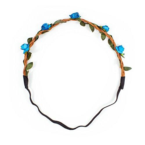 Oblique-Unique® Blumen Haarband Stirnband Blumenkranz Haarschmuck Kopfschmuck Bohemia Style - Farbe wählbar - (Blau)