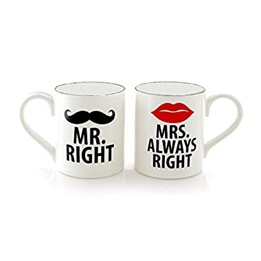 Jay Imports Mr. Right And Mrs. Always Right Set of 2 Mugs