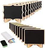 KAKOO 20 Mini Holz Tafel Set, Kreidetafel Memotafel mit Stand-Füße als Tischkarte Platzkarte Namen Preis Schild für Landhaus Buffet Party Deko Vintage Hochzeit Tischdeko