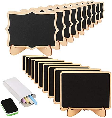 KAKOO 20 Mini Holz Tafel Set, Kreidetafel Memotafel mit Stand-Füße als Tischkarte Platzkarte Namen...