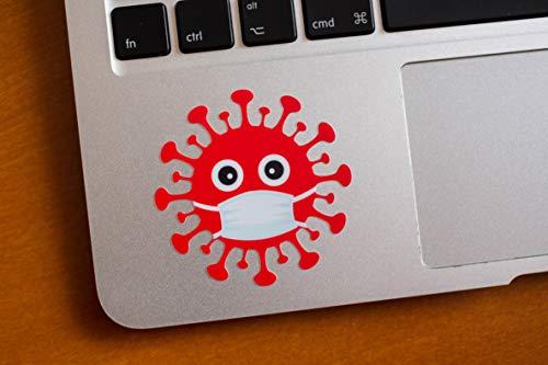 "6X (2""- 4"") EppoBrand Red & Black Covid Virus with Face Mask Sticker for Laptop MacBook Car Fridge Skate Bike JDM"