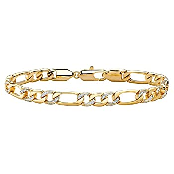 Men s 14K Yellow Gold Plated Genuine Diamond Accent Figaro Link Bracelet  7mm  Lobster Claw Clasp 8.5 inches