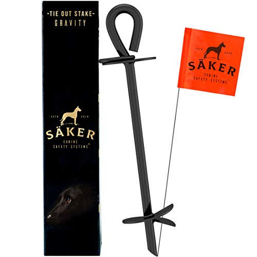 Säker Heavy Duty Tie Out Stake - Strongest Anchor Holds 2 Large Dogs Over 180lbs | Premium Dog...