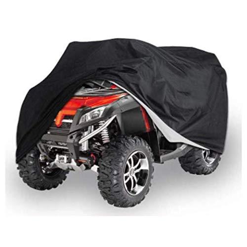 JKYQ ATV Abdeckplane Fahrzeug Scooter Motorrad Abdeckung Schnee Regen Hitzebeständige wasserdichter Schutz Quad Schwarz Universal,L
