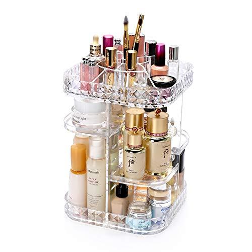Boîte à Bijoux Sac Cosmétique Multi-Fonction Boîte de Rangement cosmétique Acrylique Transparente Support en Rotation Produits de Soins de la Peau de Bureau de Finition
