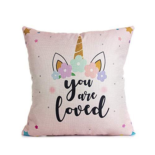 Funda de cojín decorativa de unicornio rosa de 45,7 x 45,7 cm, con cita inspiradora para la decoración de la habitación de las niñas de la guardería