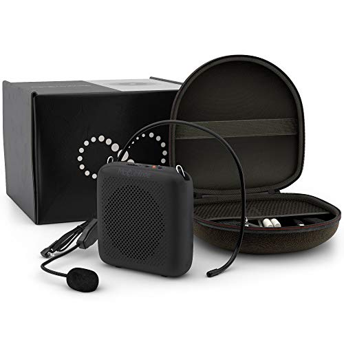 Portable Microphone and Speaker for Teachers with Carrying Case | Portable Voice Amplifier for Teachers - 4000mAh Long Battery Life | Tour Guide Speaker Wired Microphone Headset with 3.5mm AUX Input
