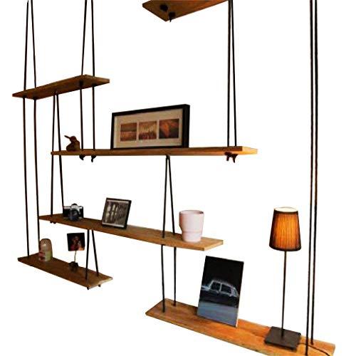 Boekenkast, zwevend, wandplank | plank van touw van massief hout met houder voor plank | frame decoratieve eenheid, wandplank 190 * 20 * 160cm