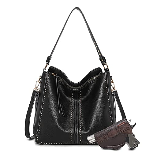 Montana West Tote Bag for Women Large Concealed Carry Purses and Handbags Black Faux Leather Hobo Bags Shoulder Bag with Crossbody Strap and Gun Holster MWC-G1001BK