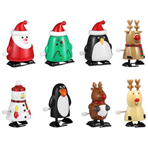 Toyvian 8 PC Weihnachtsaufzug Spielt Springende Spielwaren Der Sankt-Schneemannpinguin-Uhrwerkspielzeugneuheit für Kinder