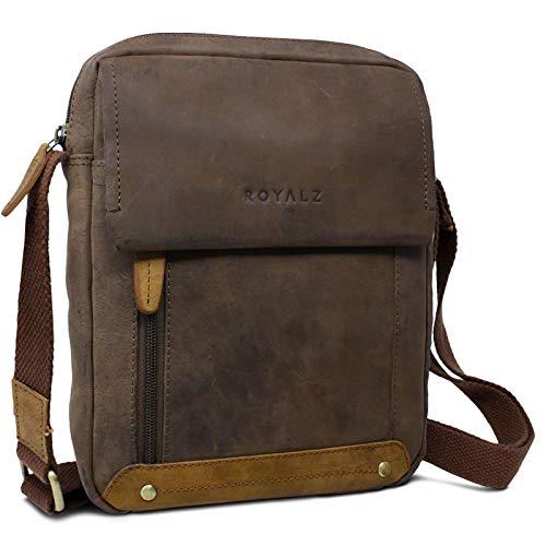 ROYALZ Vintage Leder Umhängetasche Klein für Herren Kompaktes Design Männer Ledertasche Mini Messenger Bag, Farbe:Montana Braun