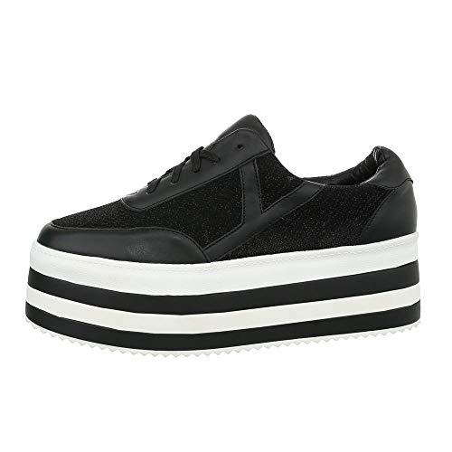Ital-Design Damenschuhe Freizeitschuhe Sneakers Low Synthetik Schwarz Gr. 41