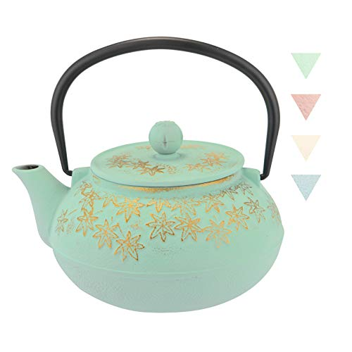 JOYYANGFANG Cast Iron Teapot,Japanese Style,Stovetop Safe Cast Iron Tea Kettle Coated with Enameled Interior for Coffee,Tea Bags,Loose Tea, Maple Leaf Pattern, 30oz (900 ml),Green