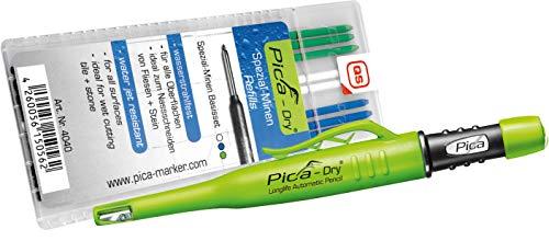 Pica 3030+4040 Dry Pen inkl. Spezialminen-Basis-Set Zimmermannbleistift, Grün, Blau, Weiß