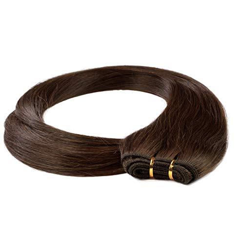 hair2heart 100g Echthaar-Tresse - glatt - 60 cm - #4 braun